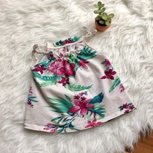 •Old Navy• Oatmeal Floral Bow Tank 2T